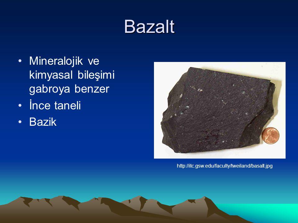 Bazalt Mineralojik ve kimyasal bileşimi gabroya benzer İnce taneli
