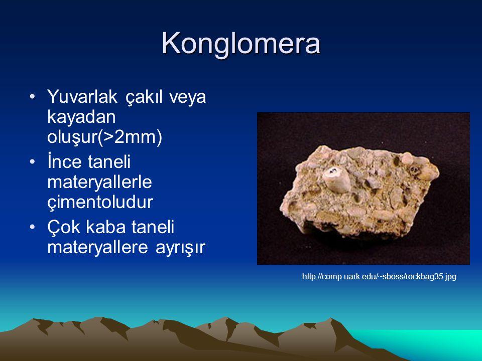 Konglomera Yuvarlak çakıl veya kayadan oluşur(>2mm)