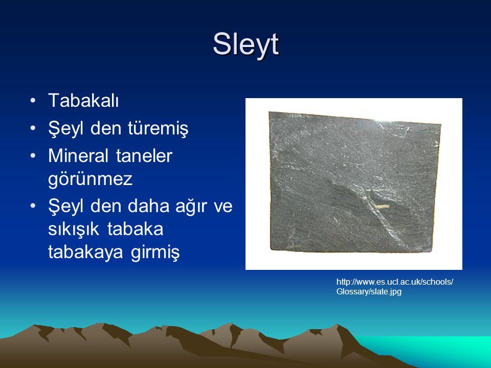 Sleyt Tabakalı Şeyl den türemiş Mineral taneler görünmez