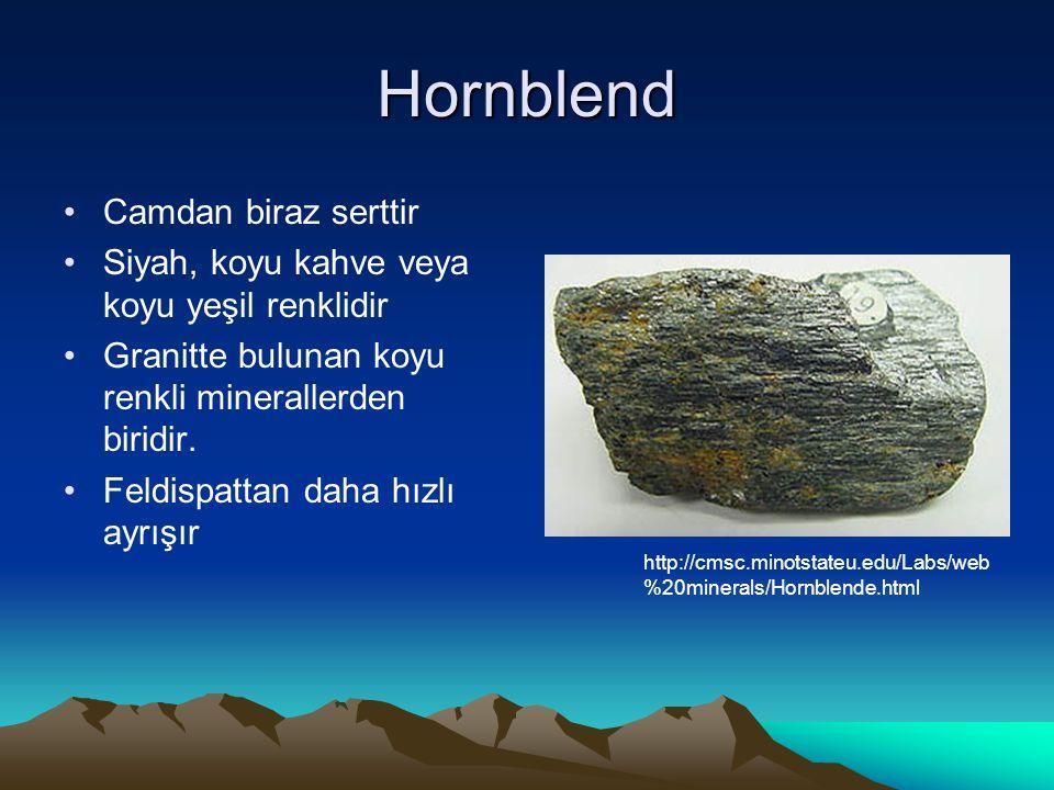 Hornblend Camdan biraz serttir