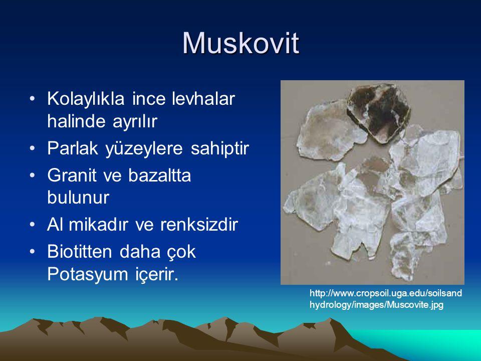 Muskovit Kolaylıkla ince levhalar halinde ayrılır