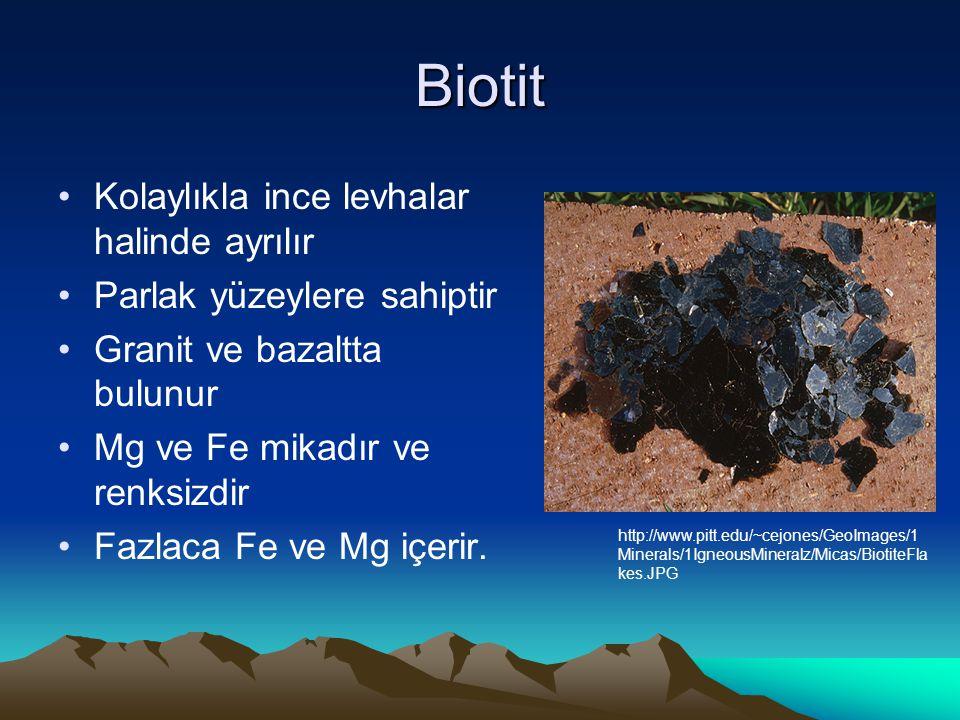 Biotit Kolaylıkla ince levhalar halinde ayrılır