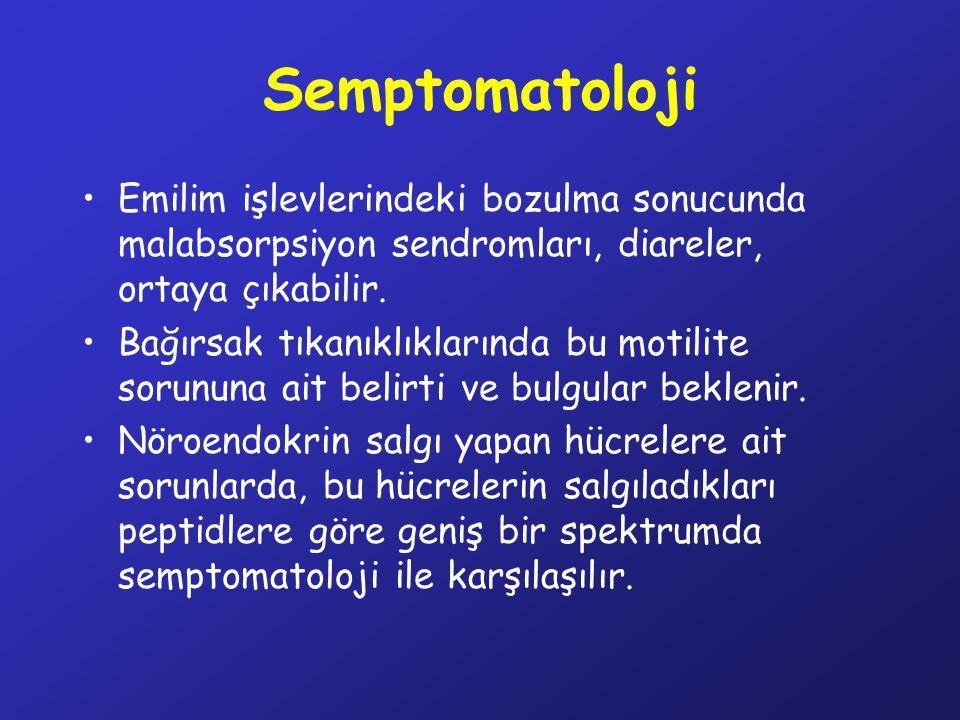 Semptomatoloji Emilim işlevlerindeki bozulma sonucunda malabsorpsiyon sendromları, diareler, ortaya çıkabilir.