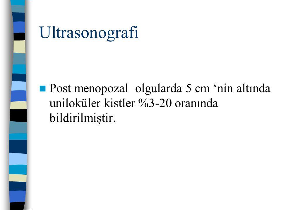 Ultrasonografi Post menopozal olgularda 5 cm 'nin altında uniloküler kistler %3-20 oranında bildirilmiştir.