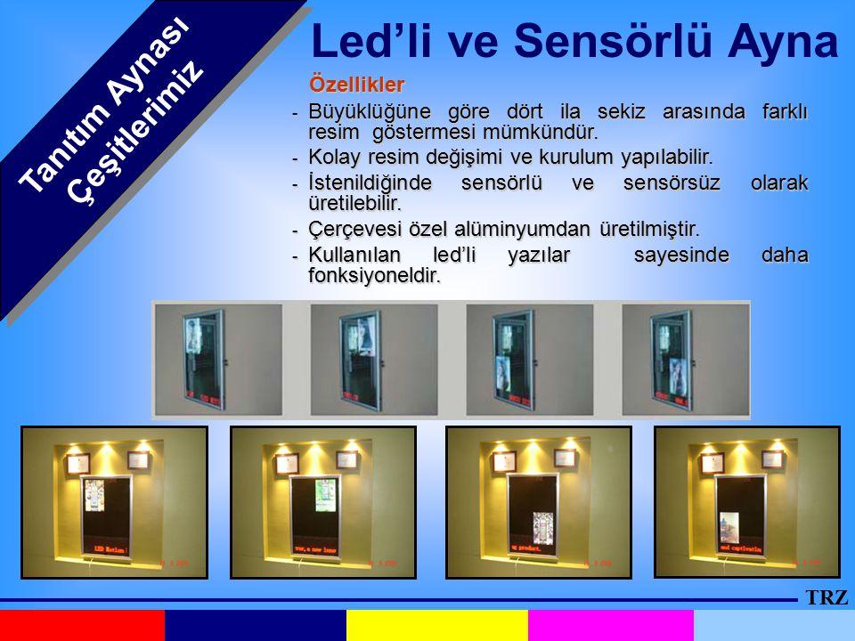 Led'li ve Sensörlü Ayna Tanıtım Aynası Çeşitlerimiz