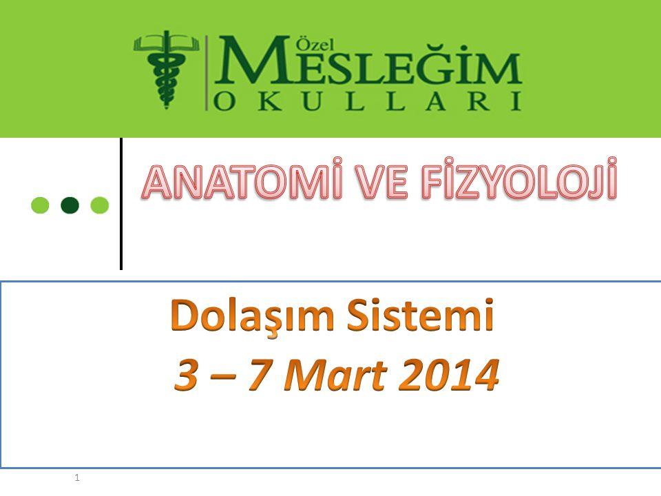 ANATOMİ VE FİZYOLOJİ Dolaşım Sistemi 3 – 7 Mart 2014