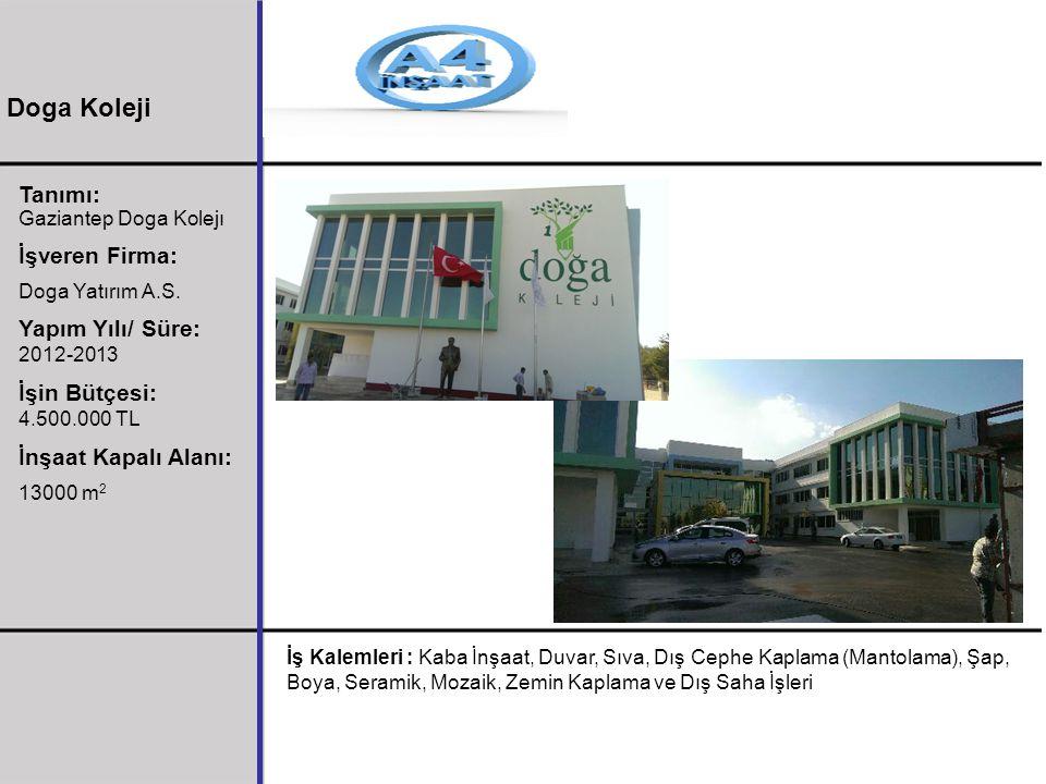 Doga Koleji Tanımı: İşveren Firma: Yapım Yılı/ Süre: 2012-2013