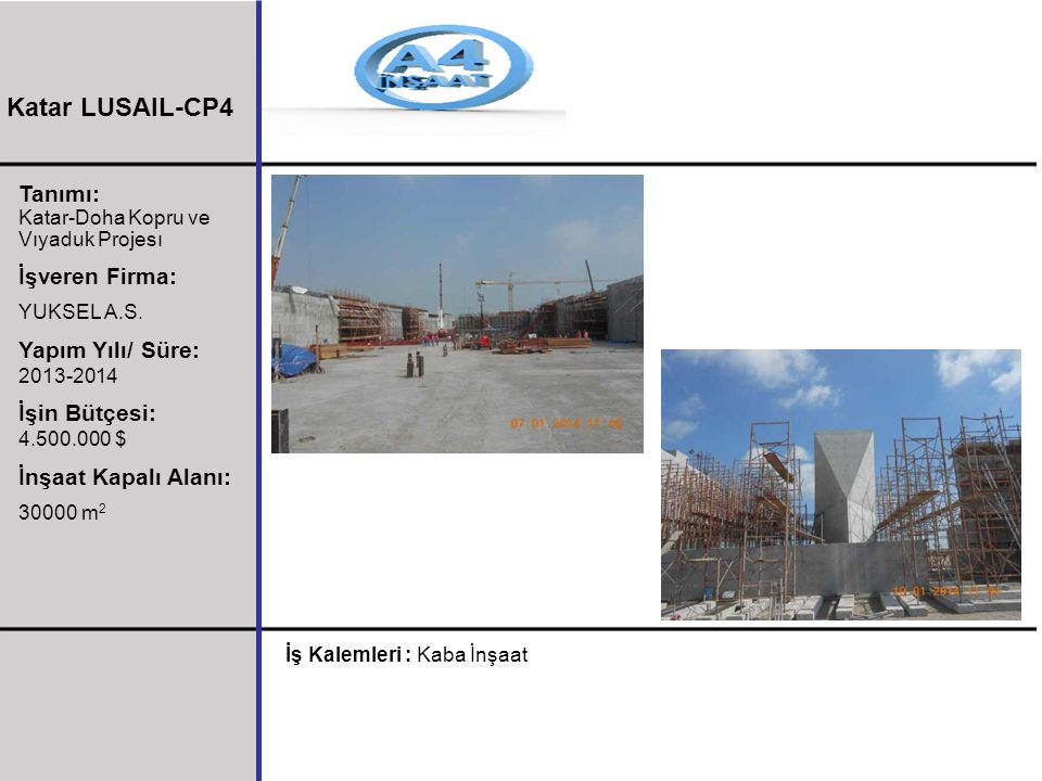 Katar LUSAIL-CP4 Tanımı: İşveren Firma: Yapım Yılı/ Süre: 2013-2014