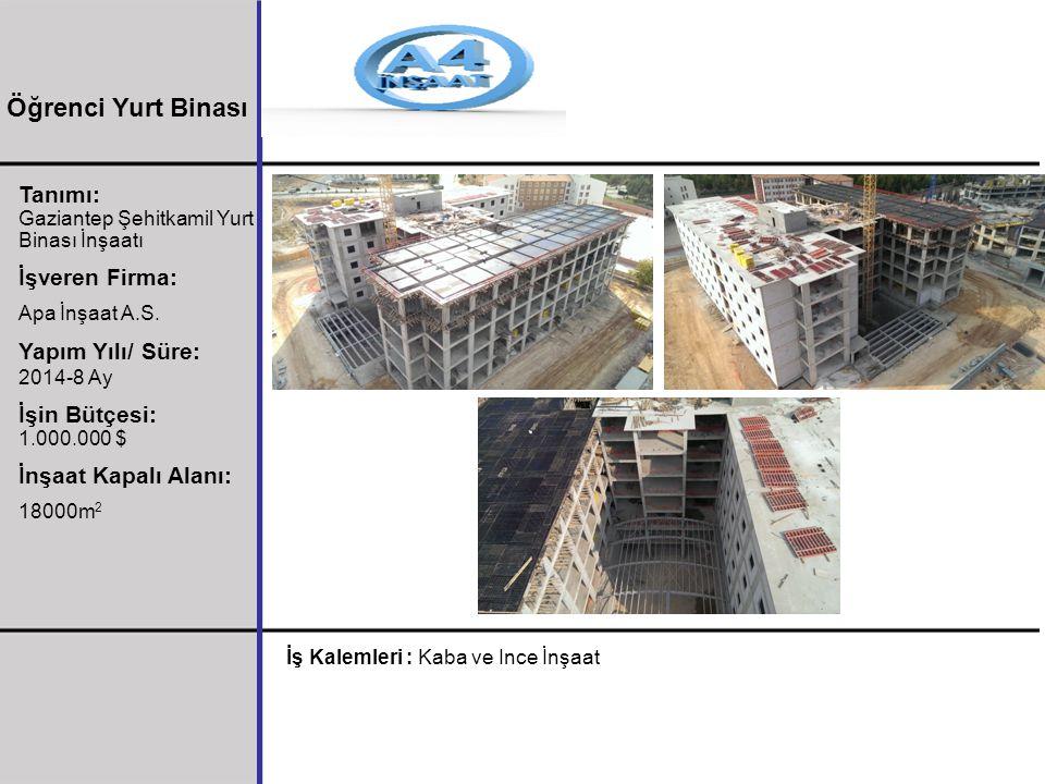 Öğrenci Yurt Binası Tanımı: İşveren Firma: Yapım Yılı/ Süre: 2014-8 Ay