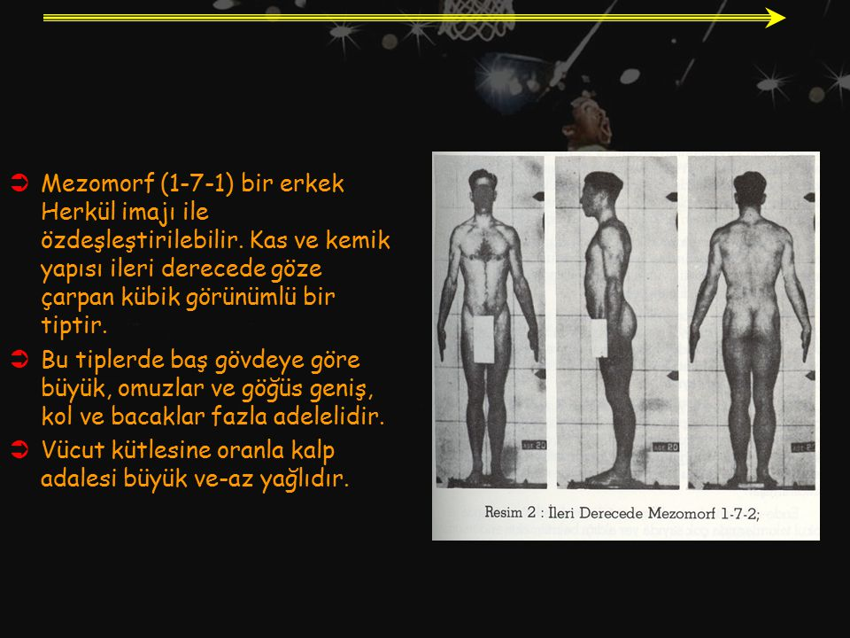 Mezomorf (1-7-1) bir erkek Herkül imajı ile özdeşleştirilebilir