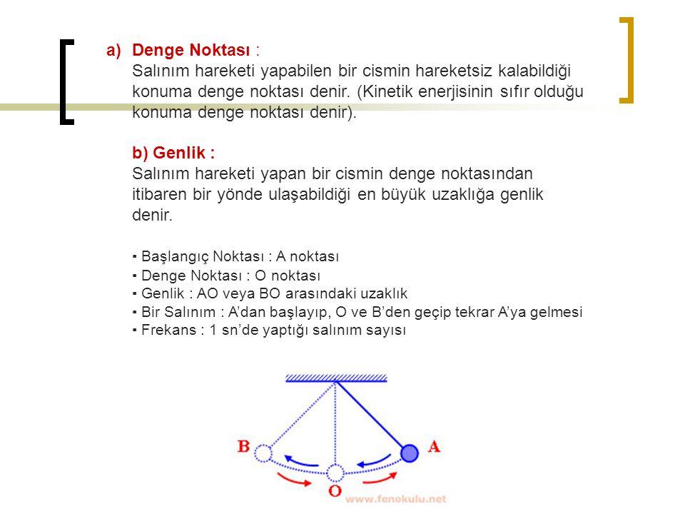 Denge Noktası : Salınım hareketi yapabilen bir cismin hareketsiz kalabildiği konuma denge noktası denir. (Kinetik enerjisinin sıfır olduğu konuma denge noktası denir). b) Genlik : Salınım hareketi yapan bir cismin denge noktasından itibaren bir yönde ulaşabildiği en büyük uzaklığa genlik denir.