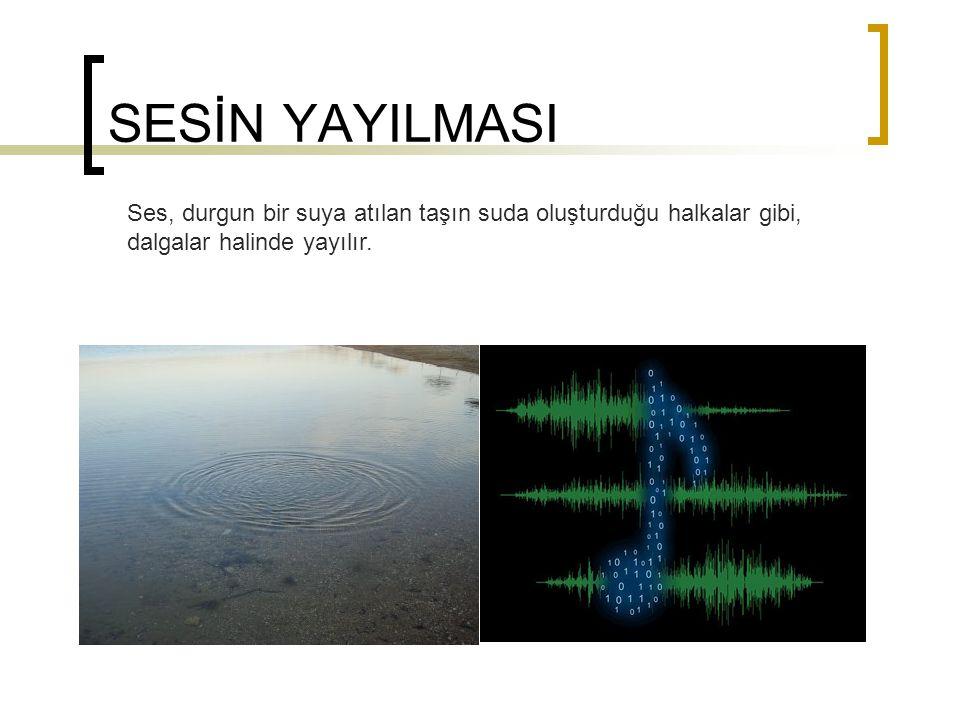 SESİN YAYILMASI Ses, durgun bir suya atılan taşın suda oluşturduğu halkalar gibi, dalgalar halinde yayılır.
