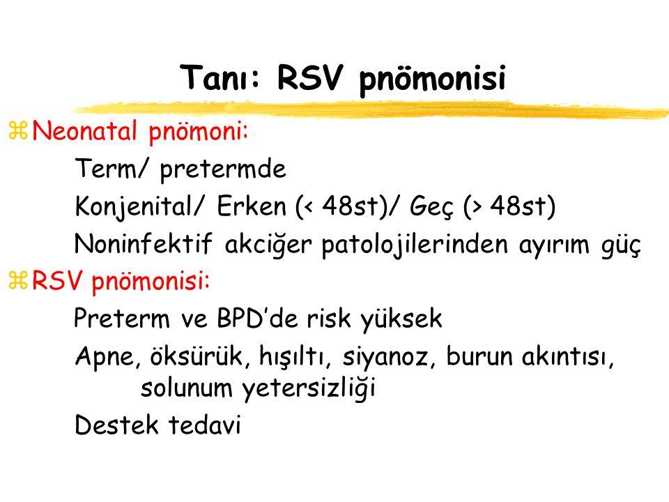 Tanı: RSV pnömonisi Neonatal pnömoni: Term/ pretermde