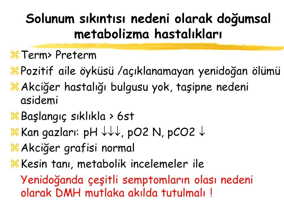 Solunum sıkıntısı nedeni olarak doğumsal metabolizma hastalıkları