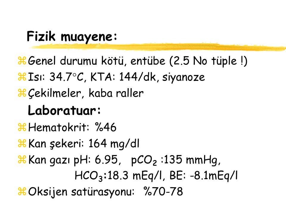 Fizik muayene: Laboratuar: Genel durumu kötü, entübe (2.5 No tüple !)