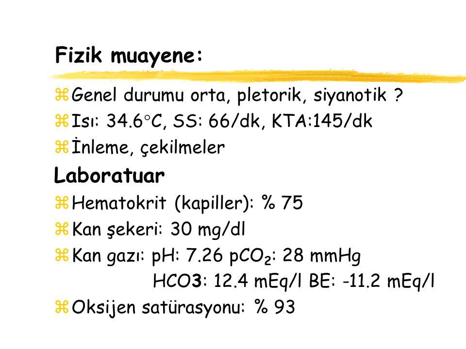 Fizik muayene: Laboratuar Genel durumu orta, pletorik, siyanotik
