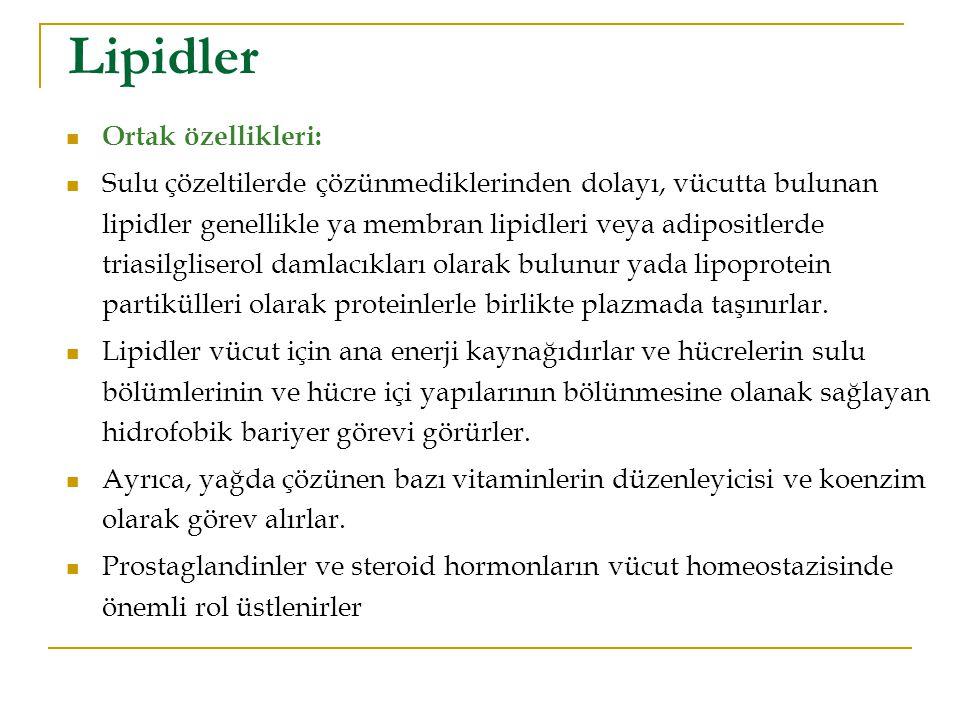 Lipidler Ortak özellikleri: