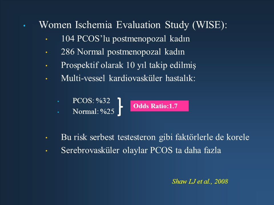 Women Ischemia Evaluation Study (WISE):