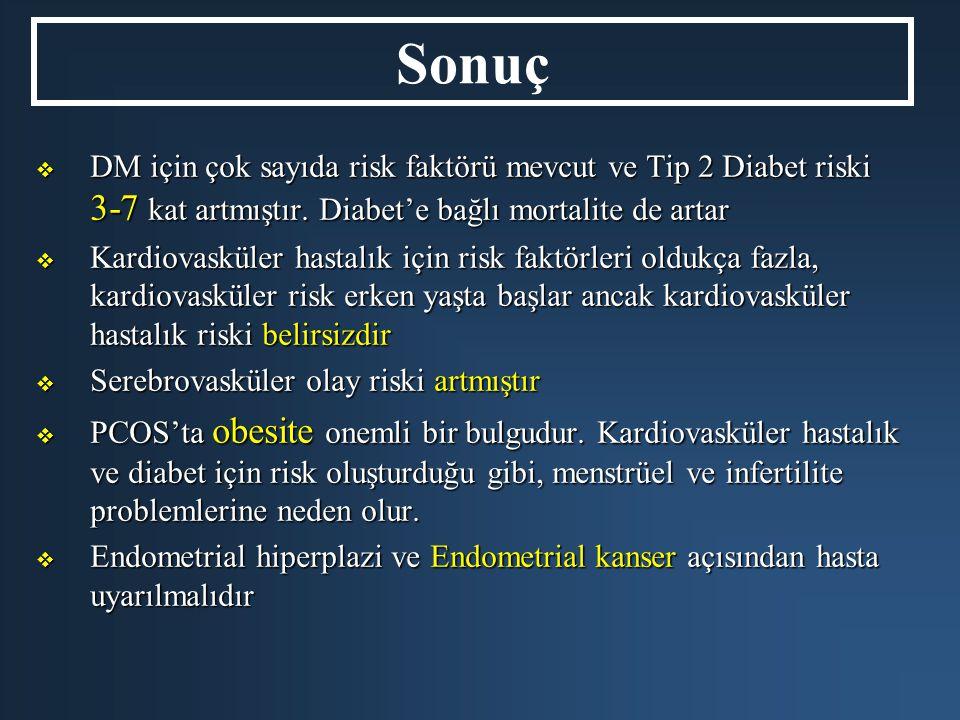 Sonuç DM için çok sayıda risk faktörü mevcut ve Tip 2 Diabet riski 3-7 kat artmıştır. Diabet'e bağlı mortalite de artar.