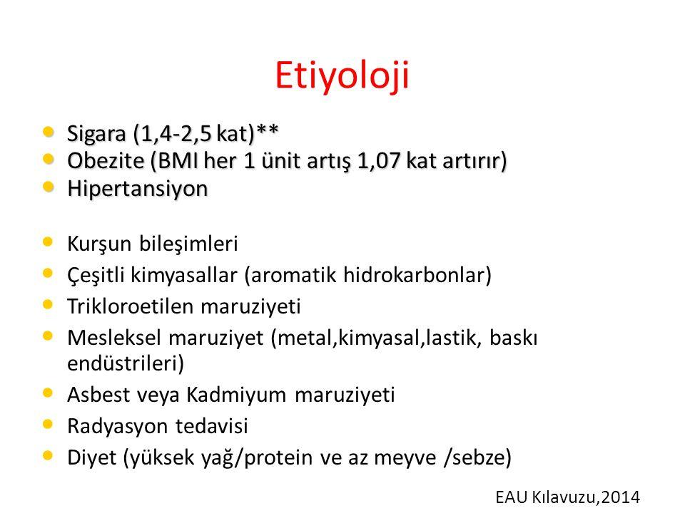 Etiyoloji Sigara (1,4-2,5 kat)**