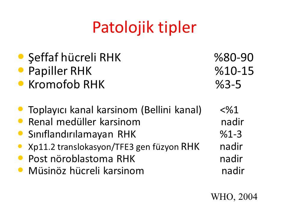Patolojik tipler Şeffaf hücreli RHK %80-90 Papiller RHK %10-15