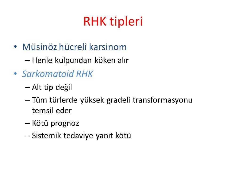 RHK tipleri Müsinöz hücreli karsinom Sarkomatoid RHK