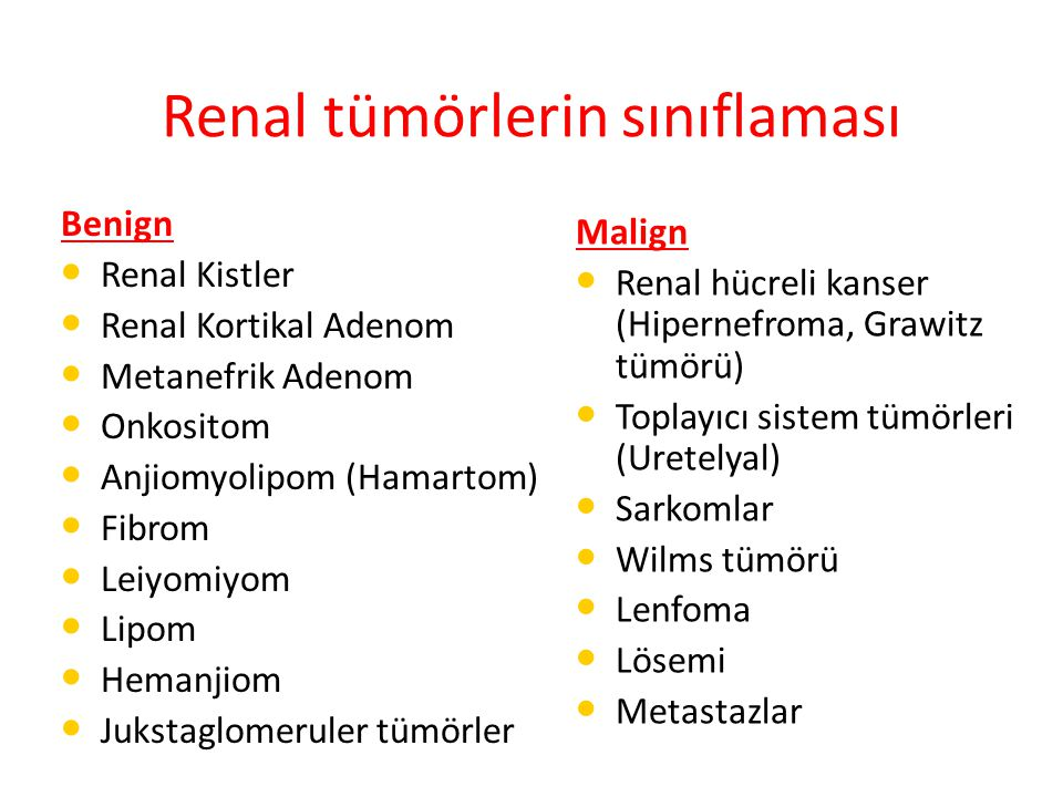 Renal tümörlerin sınıflaması