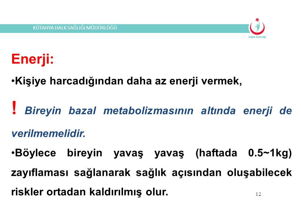 ! Bireyin bazal metabolizmasının altında enerji de verilmemelidir.