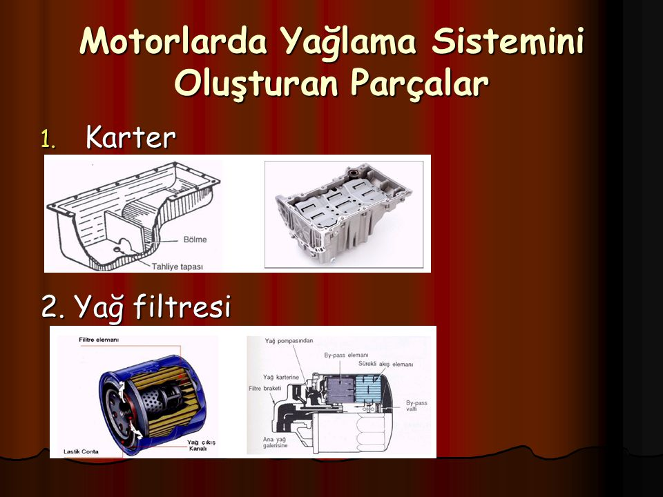 Motorlarda Yağlama Sistemini Oluşturan Parçalar