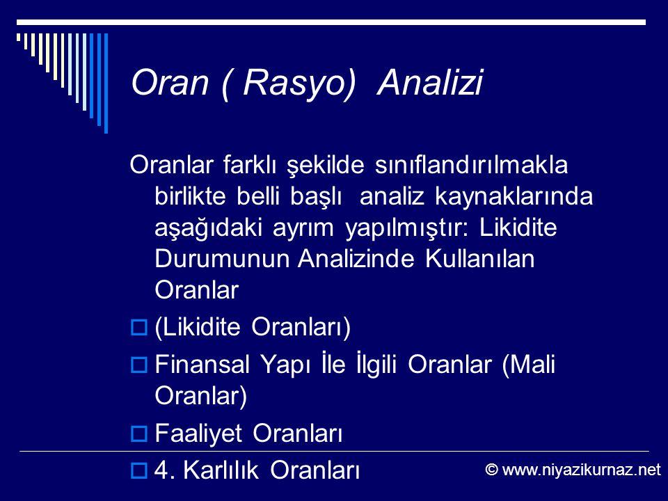 Oran ( Rasyo) Analizi