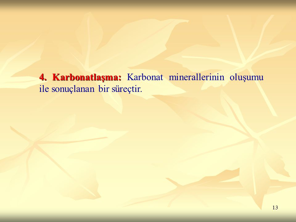 4. Karbonatlaşma: Karbonat minerallerinin oluşumu ile sonuçlanan bir süreçtir.