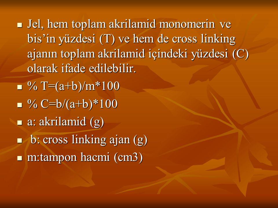 Jel, hem toplam akrilamid monomerin ve bis'in yüzdesi (T) ve hem de cross linking ajanın toplam akrilamid içindeki yüzdesi (C) olarak ifade edilebilir.