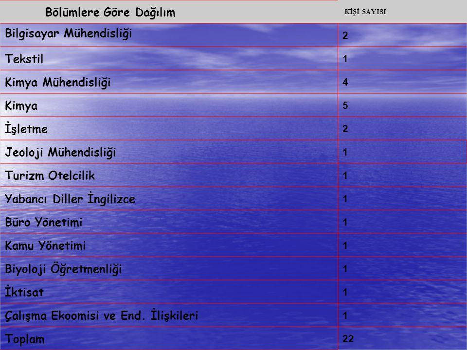 Bölümlere Göre Dağılım Bilgisayar Mühendisliği Tekstil