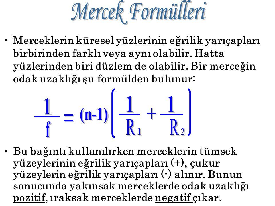 Mercek Formülleri 1 1 1 (n-1) + = R R f