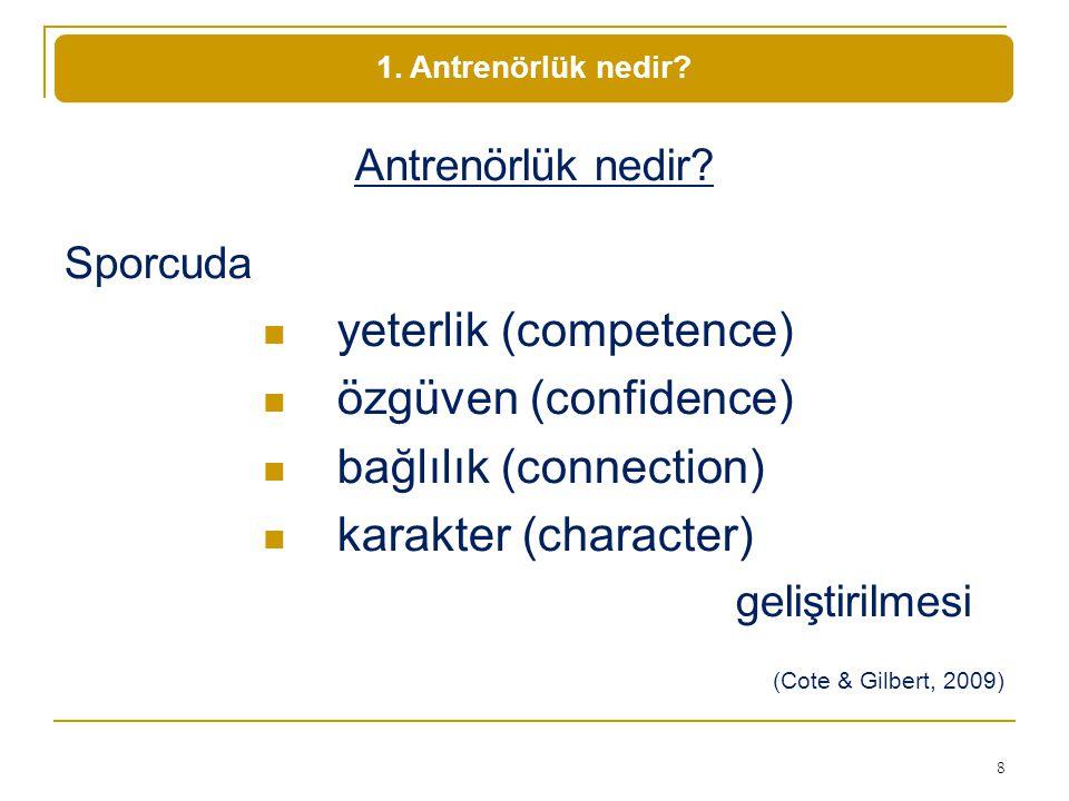 yeterlik (competence) özgüven (confidence) bağlılık (connection)