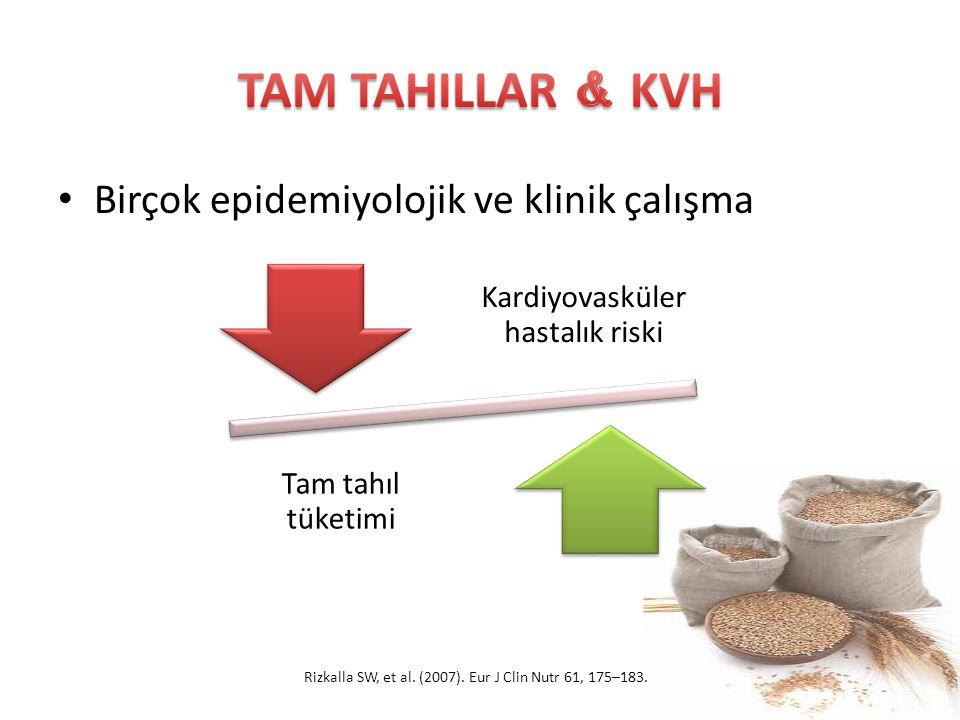 TAM TAHILLAR & KVH Birçok epidemiyolojik ve klinik çalışma