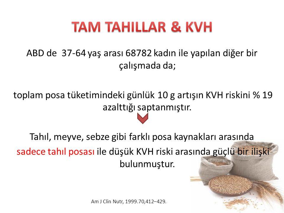 TAM TAHILLAR & KVH ABD de 37-64 yaş arası 68782 kadın ile yapılan diğer bir çalışmada da;