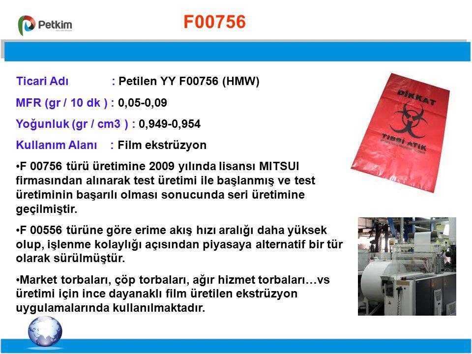 F00756 Ticari Adı : Petilen YY F00756 (HMW) MFR (gr / 10 dk ) : 0,05-0,09. Yoğunluk (gr / cm3 ) : 0,949-0,954.