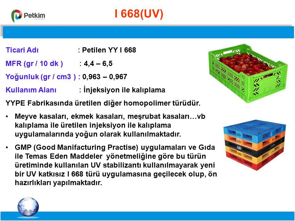 I 668(UV) Ticari Adı : Petilen YY I 668. MFR (gr / 10 dk ) : 4,4 – 6,5. Yoğunluk (gr / cm3 ) : 0,963 – 0,967.