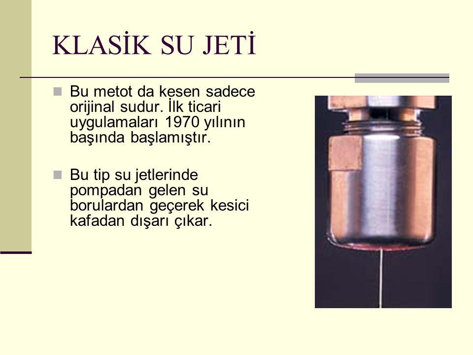 KLASİK SU JETİ Bu metot da kesen sadece orijinal sudur. İlk ticari uygulamaları 1970 yılının başında başlamıştır.