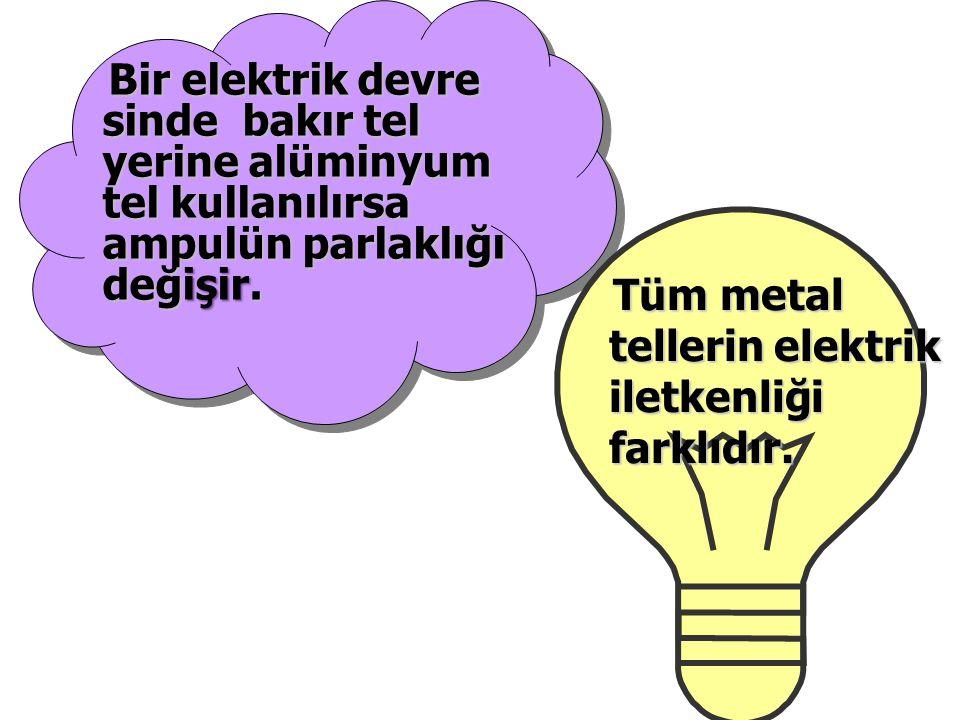 Tüm metal tellerin elektrik iletkenliği farklıdır.