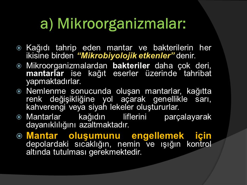 a) Mikroorganizmalar: