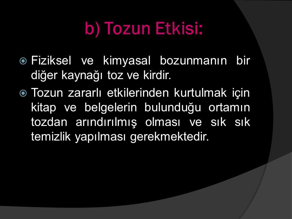 b) Tozun Etkisi: Fiziksel ve kimyasal bozunmanın bir diğer kaynağı toz ve kirdir.