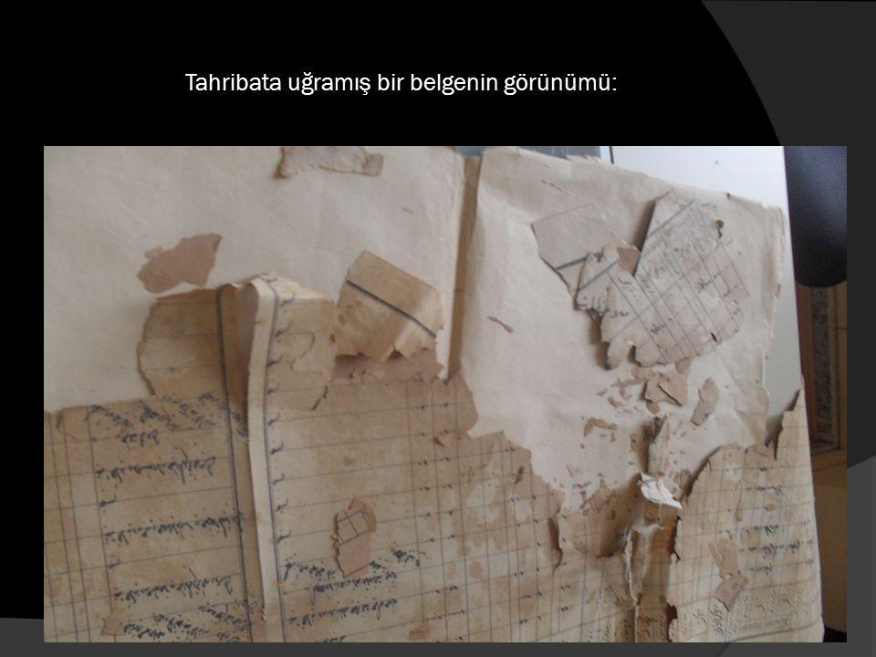 Tahribata uğramış bir belgenin görünümü: