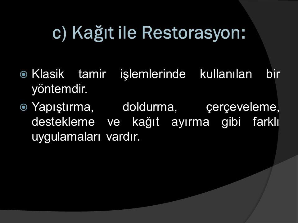 c) Kağıt ile Restorasyon: