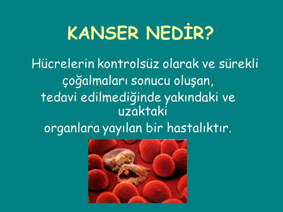 KANSER NEDİR Hücrelerin kontrolsüz olarak ve sürekli