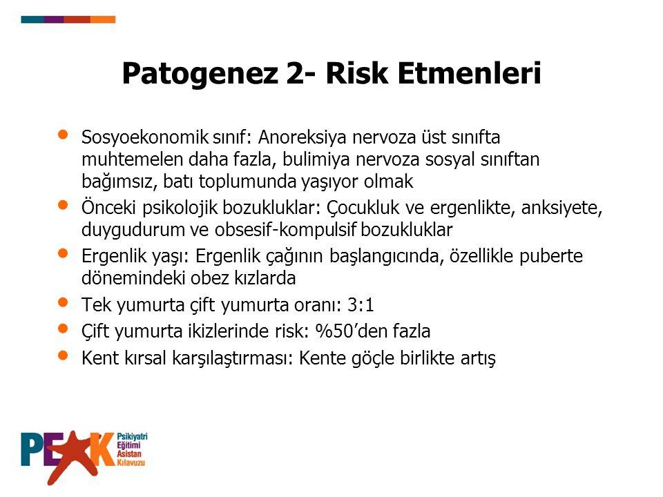 Patogenez 2- Risk Etmenleri