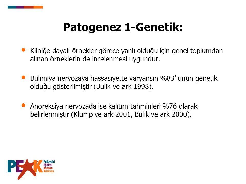 Patogenez 1-Genetik: Kliniğe dayalı örnekler görece yanlı olduğu için genel toplumdan alınan örneklerin de incelenmesi uygundur.