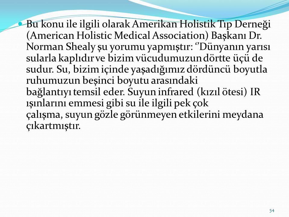 Bu konu ile ilgili olarak Amerikan Holistik Tıp Derneği (American Holistic Medical Association) Başkanı Dr.