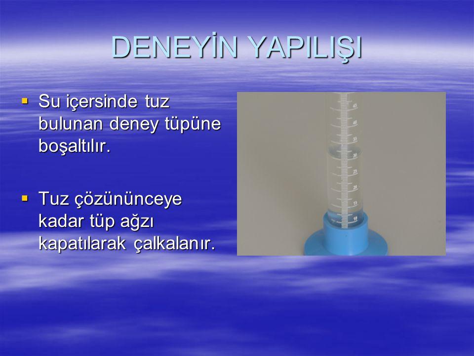 DENEYİN YAPILIŞI Su içersinde tuz bulunan deney tüpüne boşaltılır.